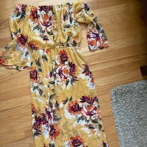 Beautiful yellow floral off the shoulder dress